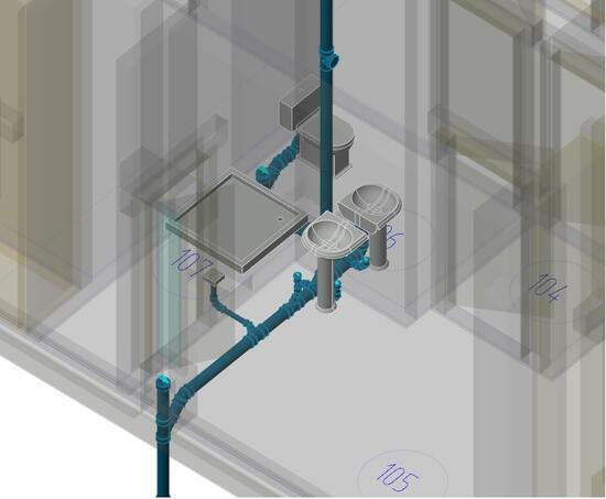 Построение системы бытовой канализации К1 здания с учетом строительной части