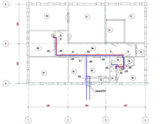 Пример плана системы водоснабжения здания, полученного преднастроенной проекцией