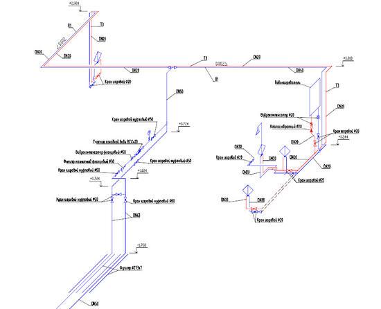Аксонометрическая схема системы водоснабжения здания, полученная средствами Model Studio CS Водоснабжение и канализация