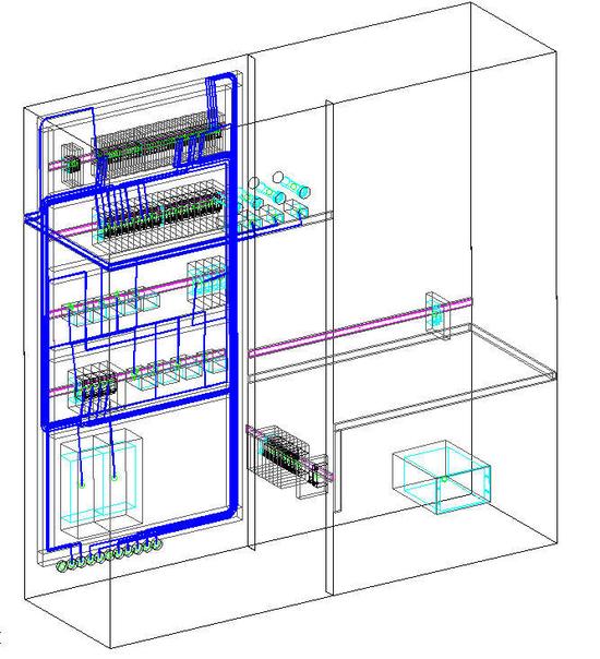 Разводка проводов внутри щита в 3D-виде