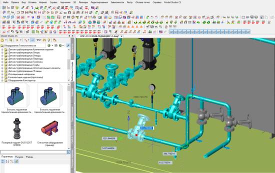 Для изменения положения деталей на трубе достаточно указать деталь и ввести нужную величину в динамическом размере - Model Studio CS доделает остальное