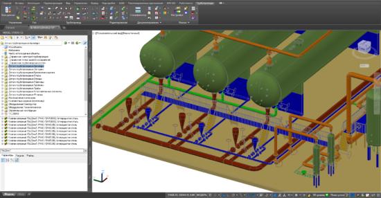 Трехмерная модель Model Studio CS, передаваемая в программу Гидросистема