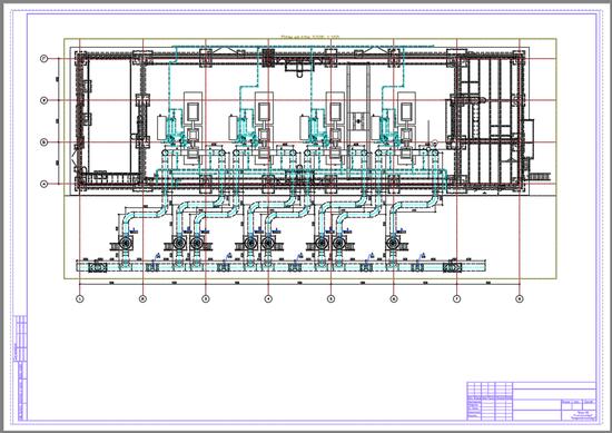 Пример общего план здания насосной с автоматически проставленными отметками, выполненный в Model Studio CS
