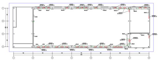 Пример плана системы отопления здания, полученный преднастроенной прекцией «ОВ-Отопление-План-Схема (М 100)»