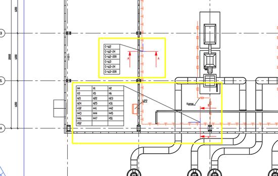 Изображение части плана с сечениями и выносками к кабелям