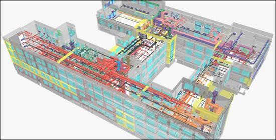Системы отопления и вентиляции здания школы, выполненные в ПО Model Studio CS Отопление и вентиляция