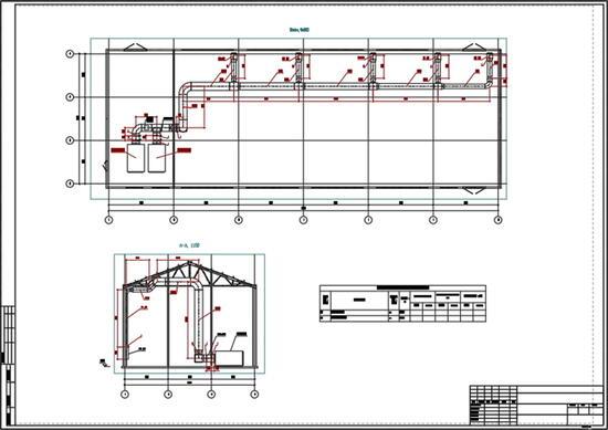 Пример плана и разреза системы вентиляции здания насосной