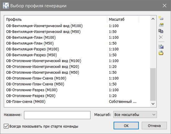 Перечень преднастроенных проекцией в Model Studio CS Отопление и вентиляция