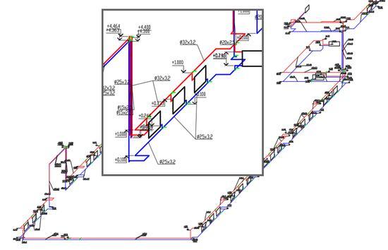 Аксонометрическая схема системы отопления здания, полученная средствами Model Studio CS Отопление и вентиляция